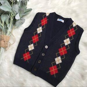 Vintage Navy Blue Argyle Holiday Sweater Vest